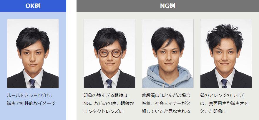 履歴書写真のOK・NG例(男性)